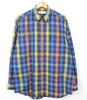 Burberry Vintage 90s Mens Long Sleeve Blue Checkered 100% Cotton Shirt - Size L