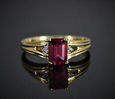 STS 10K Yellow Gold Emerald Cut Pink Tourmaline Round Diamond Cocktail Ring Band