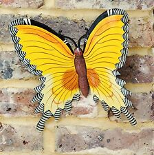 Butterfly Wall Art Colourful Bright Yellow Small Indoor or Outdoor Garden Art