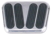 Polished Aluminum Brake Pedal Pad W/ Rubber Inserts Street Rod