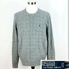 POLO RALPH LAUREN Mens 100% Silk Cable Knit Sweater Crewneck Pullover Sz 2XL XXL