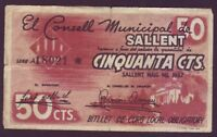 Banknotes Local - Sallent - 50 Cts. Year 1937 - Series A