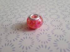 925 mate de color rosa de cristal de Murano Murano pulsera con dijes de abalorios europeos se ajusta
