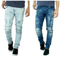 ETZO Men's biker jeans, Slim Skinny fit premium Ripped Distressed Denim (J7620)