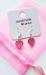 Pink Love Heart Earrings Valentine's Gift