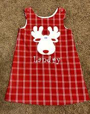 Boutique Kelly's Kids Red/White Plaid Reindeer A-Line Jumper Dress Size 5-6 EUC!