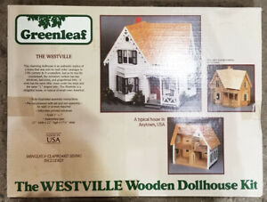 "GREENLEAF vintage THE WESTVILLE wooden DOLLHOUSE KIT #8013 made in USA 1"" scale"