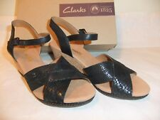 CLARKS Helio Latitude Black Leather Wedge Sandal Comfort Size 9 EU 40 NIB $99
