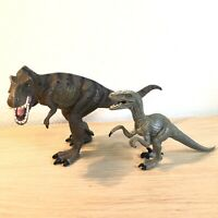 CollectA Tyrannosaurus Rex with tiger stripes  + Velociraptor Dinosaur Figures