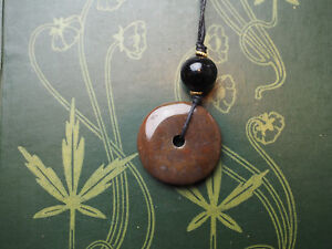 Brown Agate Gemstone Doughnut Pendant - On Cord - Pagan, Wicca, Witchcraft