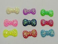 200 Mixed Color Bowknot Bows Flatback Resin Dotted Rhinestone Gems 13X7mm