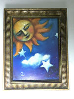 """The Moon Sleeping Framed Art Print Wall Mounted Signed By Nichola Moss 9.6"""" H"""