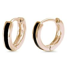 Yellow Gold Plated Black Onyx Bar Huggie Hoop .925 Sterling Silver Earrings