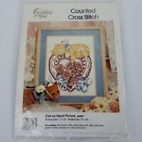 Cat On Heart Picture Counted Cross Stitch Kit 60497 Golden Bee Candamar Designs