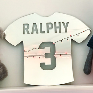 Football Shirt Personalised Acrylic Mirror Kids Baby Children Room Wall Decor