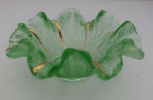 Murano Italy art glass RUFFLED edge green textured glass BOWL gold highlights