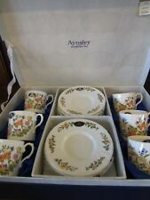 Aynsley~Cottage Garden~Bone China Set of 6 Coffee Cans and Saucers Original Box