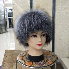 Winter 100% Real Silver Fox Fur hat women outdoor Warm Fur Cap
