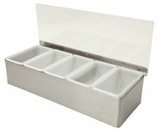 Stainless Steel 5 Compartment Condiments Holder Bar Tidy Garnish Beaumont Pub