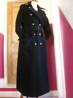 Black PER UNA M&S long wool TRENCH COAT 18 16 military duster great flare twiggy
