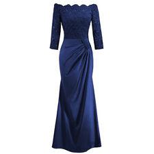Damen 3/4 Arm Abendkleid mit Spitze Party Cocktailkleid Brautjungfer Lang Kleid