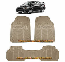 3PC FORESTER ALL WEATHER BEIGE RUBBER FLOOR MATS SET for SUBARU IMPREZA