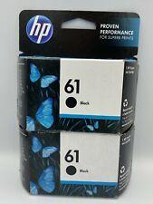 New Genuine HP 61 Dual BLACK Ink Jet Printer Cartridges Twin Pack. EXP 08/21+