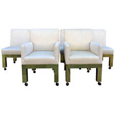 Set of Six Brass Cityscape Chairs Paul Evans for Directional