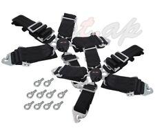 "Godsnow Universal 2X 5-Point 3"" Inch Camlock  Seatbelt Seat Belt Harness Black"