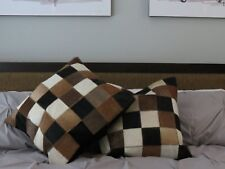 Cowhide Leather Cushion Covers sold as a pair.