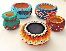 New Listing5 Jenny Jennie Dick Paiute Beaded Baskets Thunderbird Geometric Black Blue Yello