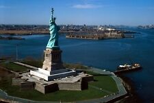 New 5x7 Photo: Statue of Liberty, View of Island and New York City Beyond