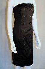 Esprit Black Satin Button Front Dress Size 10
