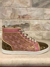 NIB Christian Louboutin Bip Bip Flat Pink Gold Heel Lace Up Hightop Sneaker 40