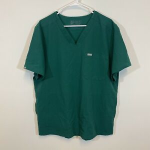 FIGS Technical Collection Three Pocket Scrub Top Green Chisec Mens Size XL