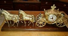 Vintage United Clock Co. Cast Metal Horse & Carriage Mantel Clock Works