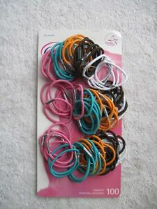 100 Goody Girls Thin With Metal Hair Band Elastic Vibrant Ponytail Holders White