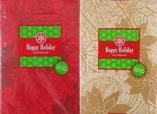 Red or Gold Poinsettia Damask Vinyl Flannel Back Tablecloth Various Sizes