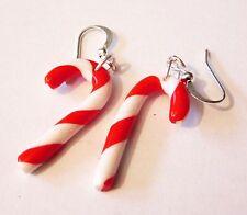 Ohrringe Handarbeit Zuckerstangen Lolli Fimo Weihnachten Geschenk Silber Lolly