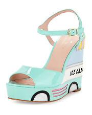 Kate Spade Dotty Ice Cream Wedge Sandal MINT Liquer Patent Size 8m