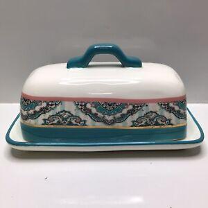 Potter's Studio Butter Dish - Turquoise/Pink/Gold - Quarter Pound Stoneware
