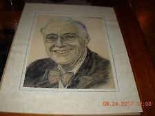 Old pencil/charcoal drawing from the 40's-signed and dated..DREHER--H. Truman?