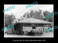 OLD LARGE HISTORIC PHOTO OF EVANSTON UTAH, THE RAILROAD DEPOT STATION c1950 1