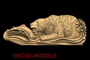 3D Models CNC STL File Artcam Aspire Vcarve Bear Grizzly fish hunting  PK114