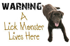 LABRADOR WARNING A LICK MONSTER LIVES HERE FUNNY DOOR SIGN / PLAQUE  BROWN LAB