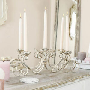 Antique White French Style 5 Arm Taper Candle Holder Rustic Table Centrepiece