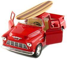 Kinsmart 1955 Chevy Stepside 3100 Pick Up Truck 1:32 diecast w/ Surfboard Red
