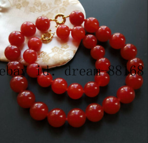 New 12mm Natural Red Jade Round Gemstones Beads Necklace 22'' Bracelet 7.5''