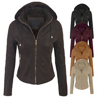 Women's Faux Suede Leather Zip Up Hoodie Bomber Jacket with Removable hood(S-3X)