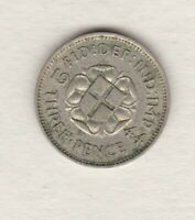 KEY DATE 1944 GEORGE VI SILVER THREEPENCE IN VERY FINE CONDITION